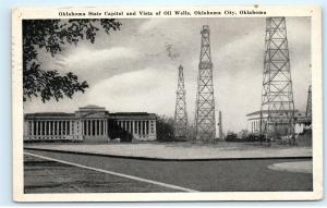 *Oklahoma State Capitol Vista of Oil Wells Oklahoma City Vintage Postcard B61