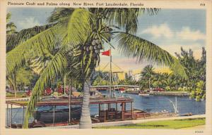 Pleasure Craft and Palms Along New River Fort Lauderdale Florida