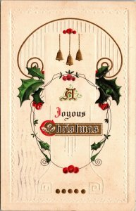 Vintage Postcard Christmas Joyous Embossed Holly Church bells posted