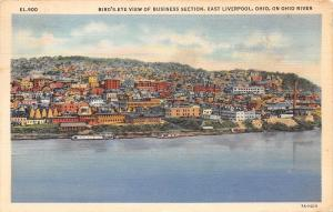 East Liverpool Ohio~Business Section~Ohio River~Birds Eye View~1939 Postcard