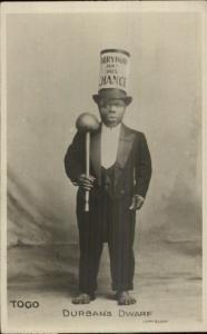 Togo Durban SA Dwarf Top Hat - Black Man c1920 Real Photo Postcard dcn