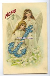 su3351 - Angels with Forget-me-Not Anchor & Lily of the Valley, Hope - postcard