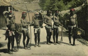 indonesia, MENTAWAI MENTAWEI, Armed Native Warriors (1910s) Postcard (1)