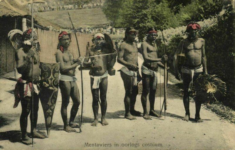 indonesia, MENTAWAI MENTAWEI, Armed Native Warriors (1910s) Postcard (1)
