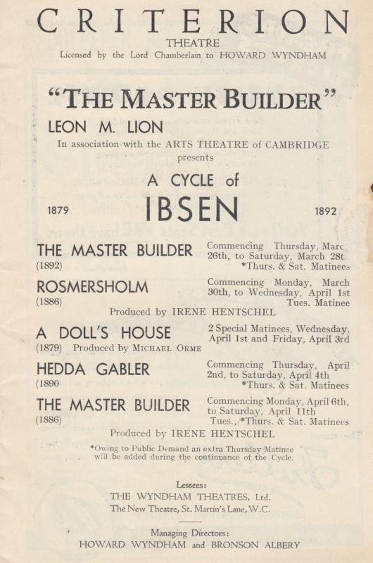 A Cycle Of Henrik Ibsen Drama Plays The Master Builder Criterion London Theat...