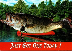 Fishing Exageration Giant Fish On Canoe and This Is Only My Bait