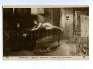 156218 NUDE Belle Model Painter PIANO by BACCHI vintage SALON