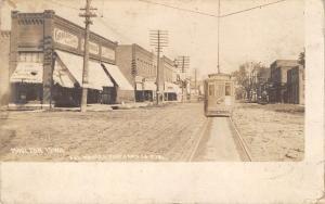 Moulton Iowa~Fantasy Trolley~Wood's Big Store~Groceries~Restaurant~RPPC 1912