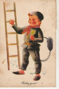 Hungary New Year luck chimney sweep caricature greetings postcard