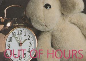 Teddy Bear Alarm Clock Needing Hospital Doctor Postcard