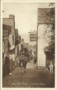 Sepia Scene High Street Clovelly Looking Down - Early 1900s Vintage Postcard