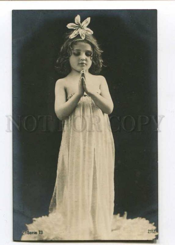 257747 NUDE Pray GIRL FAIRY Vintage PHOTO RPH #73-2112 PC