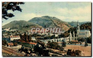 Old Postcard Lourdes Basilica and the Pic de Ger