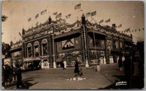 MITCHELL South Dakota RPPC Photo Postcard CORN PALACE Street View 1931 Cancel