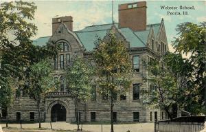 Peoria Illinois~Webster Grammar School~West Millman Street~Iron Fence~1914