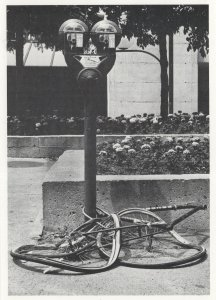 Mangled Crushed Bike Cycle Disaster by Parking Meter Postcard
