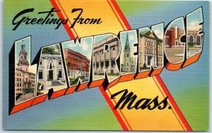 LAWRENCE Massachusetts Large Letter Postcard Colorful Tichnor Linen 1940s Unused