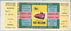 65201  - Vecchio  BIGLIETTO  LOTTERIA di MONZA con MATRICE! 1956