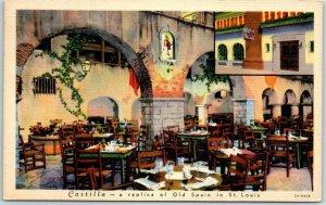 St Louis MO Postcard Castilla Restaurant View Curteich Linen 2A-H458 1939 Cancel