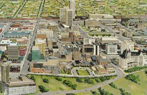 Aerial Illustration of Civic Centre, Edmonton, Alberta, Canada, 40-60´s