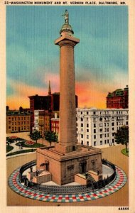 Maryland Baltimore Mt Vernon Place & Washington Monument 1942