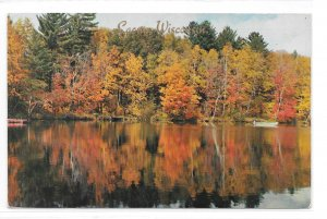 WI Laona Wisconsin Vacationland Lake Scene Autumn Fall Color Vintage Postcard