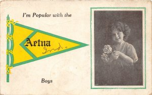 F73/ Aetna Indiana 1913 Pennant Postcard I'm Popular With the Boys