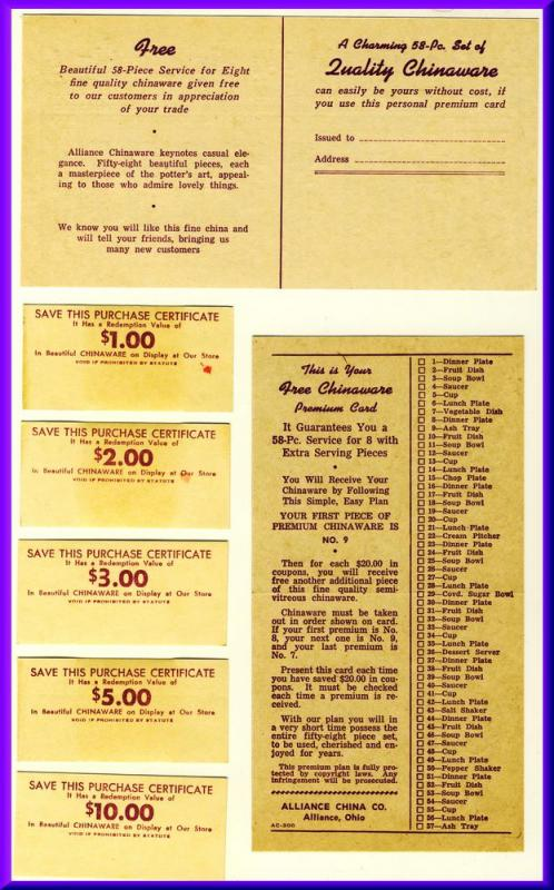 1950's Grocery Store Coupons & Premium Card, Alliance China Company