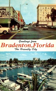 Florida Bradenton Greetings Showing Street Scene and Yacht Basin 1959