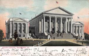State Capitol, Richmond, Virginia, Early Postcard, Used in 1906