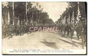 Old Postcard Army Fetes victory July 14, 1919 The parade of American flags