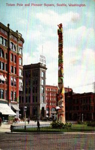 Washington Seattle Pioneer Square and Totem Pole 1910