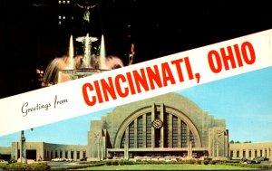 Ohio Cincinnati Greetings Showing Union Terminal 1970