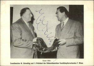 German Boxer Boxing Champ Max Schmeling Autograph Postcard G19