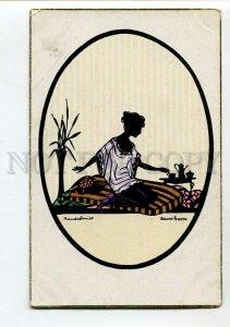 3150345 ART DECO Silhouette Belle w/ TEA Cup by GROSZE vintage