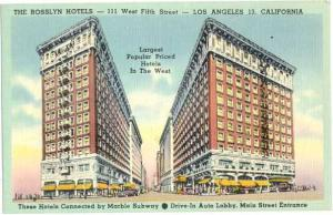 Rosslyn Hotels, 111 W Fifth St, Los Angeles 13 California, CA, Linen