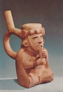 Peruvian Whistling Jar Flute Player Primitive Art Sculpture Postcard