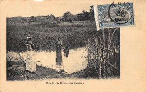 Belgian Congo Belge Boma La Riviere La Kalamu natives bathing Postcard