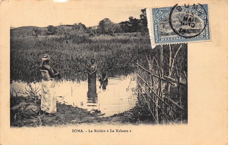 Belgian Congo Belge Boma La Riviere La Kalamu natives bathing Postcard