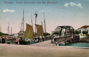 curacao, D.W.I., Gouverneur van den Brandhof Bridge (1910s) Postcard
