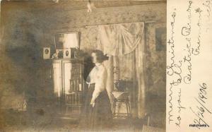 1906 Fremont Michigan Beatrice Parsons Home Interior RPPC real photo 6137