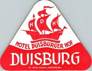Germany Duisburg Hotel Duisburger Hof Vintage Luggage Label sk4803