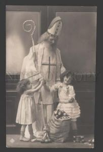 114074 Saint Nicholas w/ Kids DOLL DRUM Vintage PHOTO RARE PC