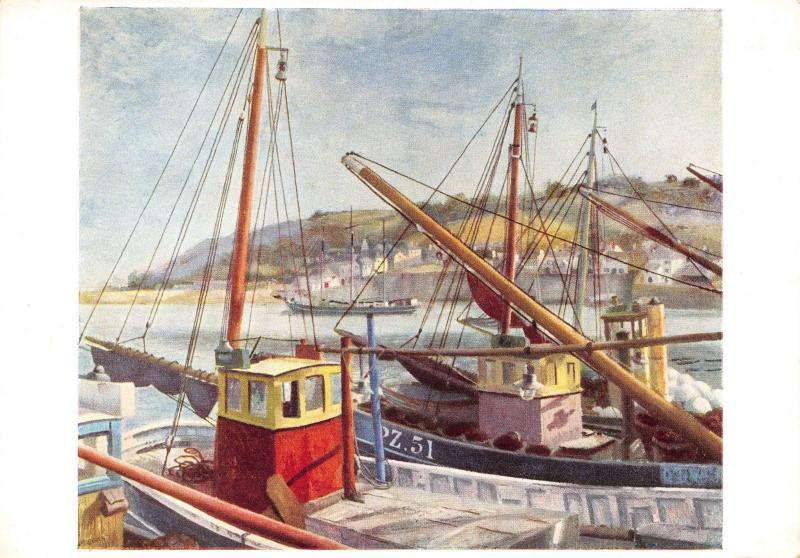 Cornwall Art Postcard, Newlyn Harbour (1937) by Richard Eurich X64