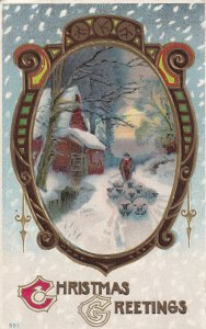 CHRISTMAS Greetings, Framed Winter Scene Of Shepherd, PU-1917