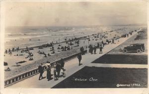 F26/ Seaside Oregon RPPC Postcard c1910 Boardwalk Crowd Shore