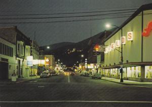 Main Street at night , NELSON , B.C. , Canada , 50-70s