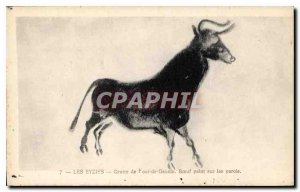 Old Postcard Les Eyzies Cave of Font de Gaume beef painted on the walls