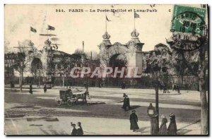Old Postcard Fete Foraine Paris Porte Maillot and Luna Park