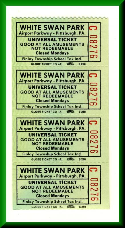 4-White Swan Park Amusement Park Tickets, Pittsburgh, Pennsylvania/PA/Penn